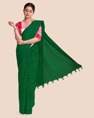 Look and Adorn Mercerised Handloom Khadi Cotton Saree with Blouse Piece (Emerald Green)