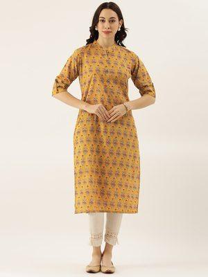 Mustard printed cotton cotton-kurtis