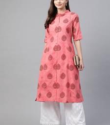 Peach printed cotton ethnic-kurtis