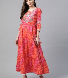 Pink embroidered cotton cotton-kurtis