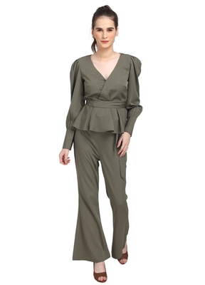 WOZTY Women TIE UP Buttoned TOP Olive Color Poly Crepe