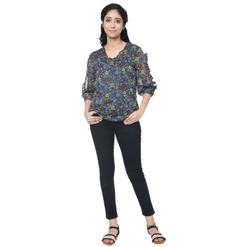 WOZTY Women's Floral Regular fit Cut Out Sleeve Top