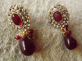 Ethnic Earrings in Red and Gold