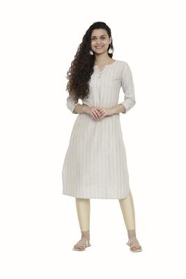 Beige woven cotton long-kurtis