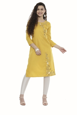 Mustard embroidered cotton long-kurtis