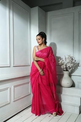 Deep Pink Saree with Zari Jamdani Work and Blouse