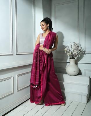 Plum Khadi Cotton saree With Blouse