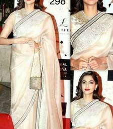 Buy Off white Sequins work Dupion Tissue saree with blouse sonam-kapoor-saree online