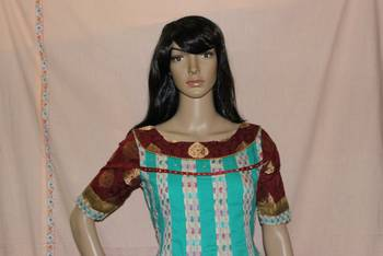 Multicoloured cotton Anarkali set