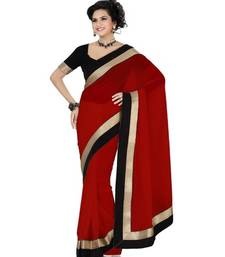 Buy Maroon Plain Georgette saree with blouse madhuri-dixit-saree online