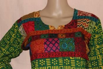 Green patchwork angarakha style Kutchi kurti