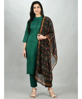 Green Silk Blend Solid 3/4 Sleeve Mandarin Neck Casual Kurta Pant Dupatta Set