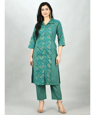 Green Cotton Printed 3/4 Sleeve Shirt Coller Casual Kurta Pant Set