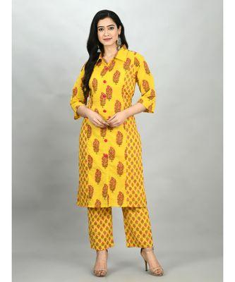 Yellow Cotton Printed 3/4 Sleeve Shirt Coller Casual Kurta Pant Set
