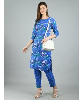 Blue Cotton Printed 3/4 Sleeve Round Neck Casual Kurta Pant Set