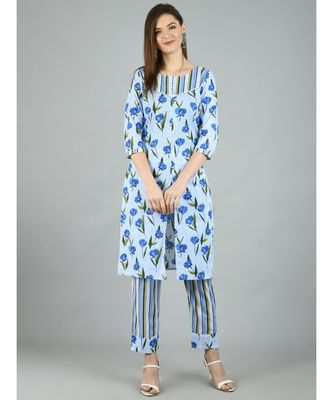 Multi Cotton Printed 3/4 Sleeve Round Neck Casual Kurta Pant Set