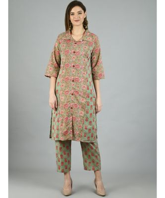 Multi Cotton Printed 3/4 Sleeve Shirt Coller Casual Kurta Pant Set