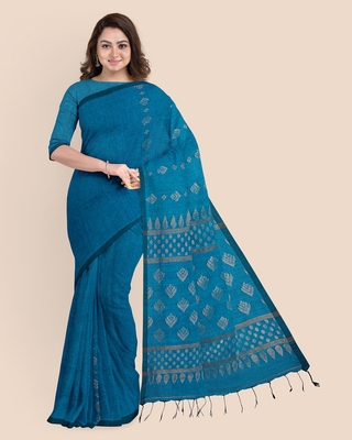 Look and Adorn Exclusive Handwoven Copper Zari Blue Organic Linen Saree with Blouse piece
