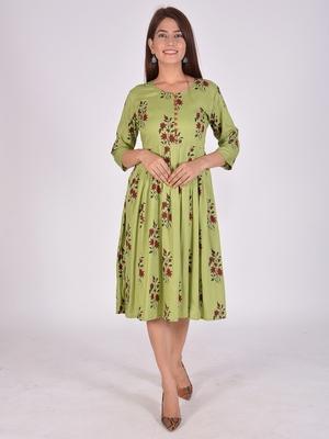 Women Rayon Anarkali Dress Green Colour 3/4 sleeves