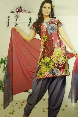 Multicolored and grey dress material
