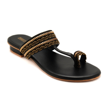 Women Black Kolhapuri Flats from Trends and Trades