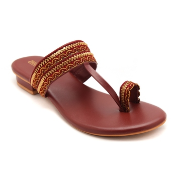 Women Maroon Kolhapuri Flats from Trends and Trades