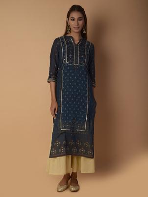 Navy-blue woven cotton kurtas-and-kurtis
