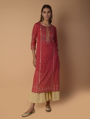 Pink woven cotton kurtas-and-kurtis