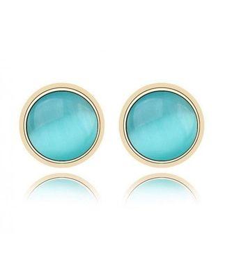 Blue Opal Stud Earrings