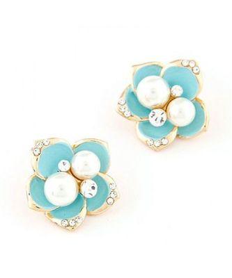 Blue Flower Pearl Stud Earrings