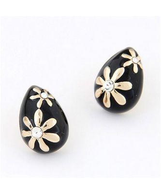 Black Waterdrop Stud Earrings