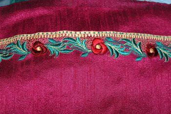 Dark Pink Embroidered Raw silk Dress material