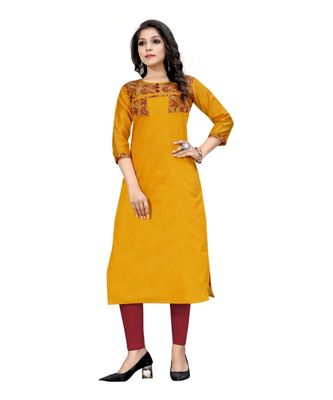 mustard chanderi 3/4th sleeves solid women kurta