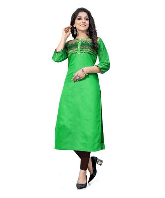 Green chanderi 3/4th sleeves solid women kurta