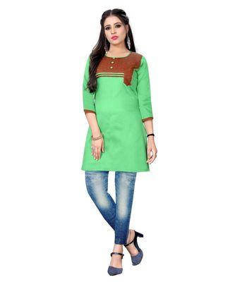 Green chanderi 3/4th sleeves solid women kurta