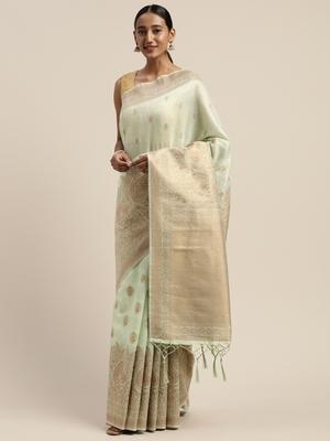 Sea green Jacquard saree