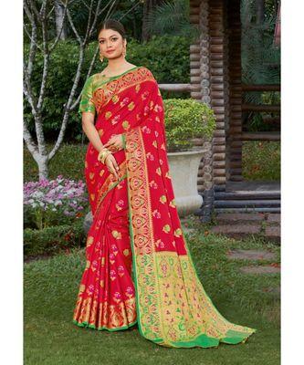 Red Heavy Banarasi Silk Woven Work Traditional Saree