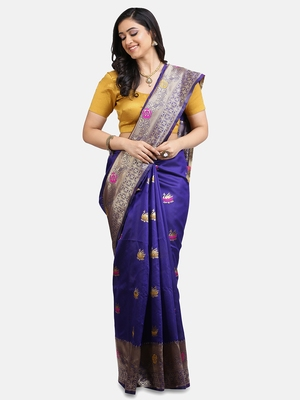 Purple Woven Silk Saree With Blouse