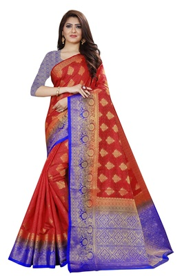 Red color woven tusar silk saree with blouse