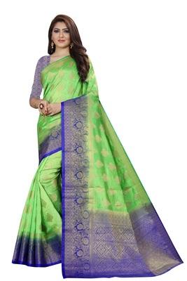 Parrot green color woven tusar silk saree with blouse