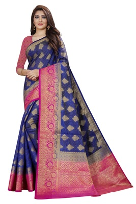 Royal blue color tusser silk saree with blouse
