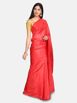 Red plain fancy fabric saree with blouse