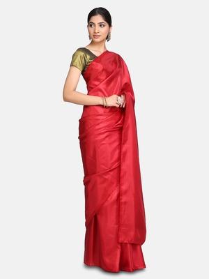 Dark maroon plain fancy fabric saree with blouse