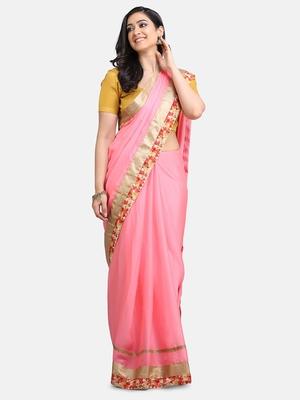 Indian women Pink Half and Half Sari Raw Silk saree with blouse