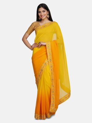 Yellow Mirror Work Georgette Saree With Blouse For Women