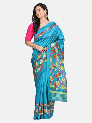 Green Floral Printed Art Silk Saree With Blouse For Women