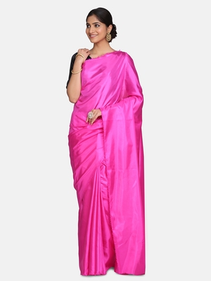 Dark rani pink plain fancy fabric saree with blouse