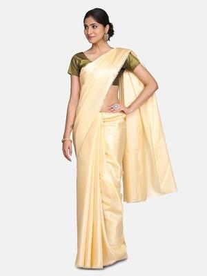 Antique gold plain fancy fabric saree with blouse