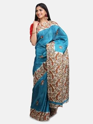 Sky Blue Khadi Digital Printed Traditional Saree