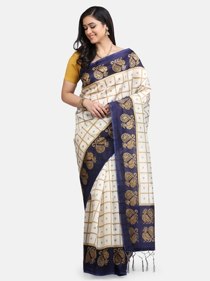 White & Navy Blue Art Silk Printed Saree
